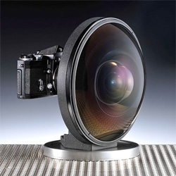 Nikon's extreme wide-angle Nikkor 6mm f/2.8 Lens introduced in 1970 offering an angle of view of 220º.