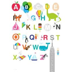Cute illustrated alphabet print from Showler & Showler.