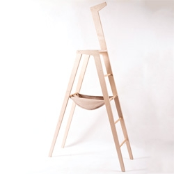 L'Albina by Gaia Bottari, a handmade birch ladder with calfskin tool bag promoted by Zanotta and Bosch for International Salone del Mobile 2012, in Milan.
