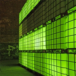 Modulorbeat designed Kubik, an outdoor club in Berlin, made from translucent containers that light up in response to the club's music.