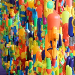 'Quantity has a quality in itself' by Douglas Young, artwork created from plastic water guns showcased recently at the Hong Kong Art Fair.