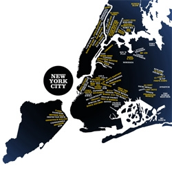 Very Small Array's map of New York City rappers.