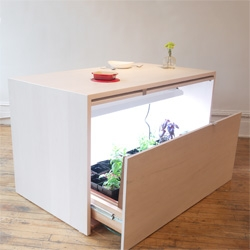Analog Modern's hydroponic kitchen island, a great hydroponic setup for small spaces.