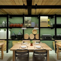 Restaurant Farma Kreaton (Meat Farm in Greek) with architecture and interior design of both spaces are by Minas Kosmidis.