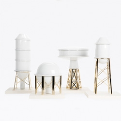 Industry Porcelain Vases by Michael Breschi for Gentle Giants are porcelain vases shaped like industrial towers.