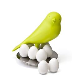 Cute sparrow egg magnet. Use the eggs to affix what you need, then return it to the nest when you're done.
