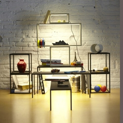 The BlancoWhite Light & Shelving by Antoni Arola is part desk lamp, part shelf.