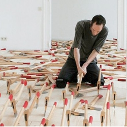 So many axes! Florian Bach's installation at Kunstverein Arnsberg entitled Der Apparat.