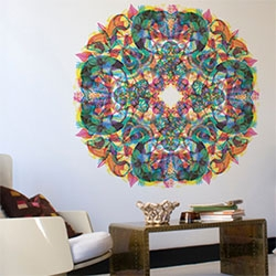 FINALLY! Carnovsky for Blik magical RGB nature inspired giant wall sticker mandalas are here! Three complex layers in each, depending whether you have red, green, blue lighting/glasses you see different things!
