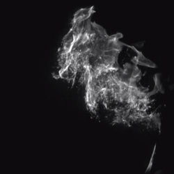 Watch the ignition of an atomized spray of flammable liquid, recorded at 10,000 fps and replayed at 30 fps.