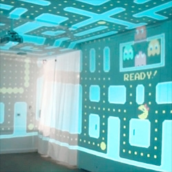 Keita Takahashi's 3D pacman room, an immersive playable 360° of pacman! Shown earlier at New York's Museum of Art and Design during the Babycastles Summit.