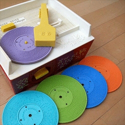 Fred Murphy 3D prints working plastic records for the Fisher Price record player.