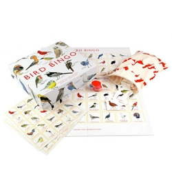 Bird Bingo illustrated by Christine Berrie featuring 64 species. Adorable cloth bag and more!