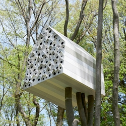 Nendo's Bird-Apartment, a treehouse designed for the Ando Momofuku Center, a facility devoted to promoting and increasing access to nature activities. The treehouse holds one person and 78 birds!