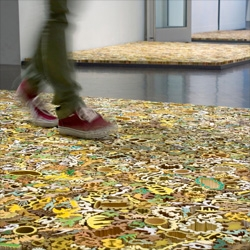 Footing, a temporary interactive installation at the Denver Art Museum by Nathan Craven that allows visitors to walk on a series of ceramic pieces.
