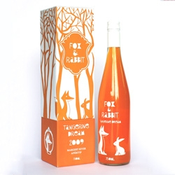 Ting Sia's cute illustrated packaging for Fox & Rabbit, fruity wine apéritif.