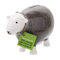 Herdybank! A Herdwick Sheep money bank from Herdy UK, est 2007 by designers, Spencer and Diane Hannah. This well branded store and site help support the rural communities and fell farmers of the Lake District.