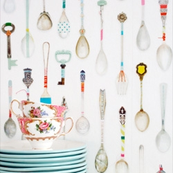 Cute teaspoon wallpaper from Studio Ditte.