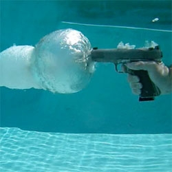 This is what a gun fired underwater looks like. A Glock 22 Gen 4 firing a Federal HST 165gr jacketed hollow poin.