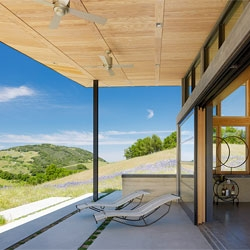 The Caterpillar House from Feldman Architecture in the softly rolling hills of the Santa Lucia Preserve in California.