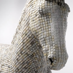 'Hedonism(y) Trojaner', rocking horse made from keyboards, a playful modern take on the Trojan Horse. By Babis Pangiotidis.