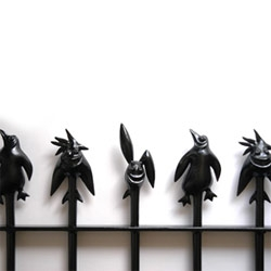 The first set of three unique railing-top characters by Sweet Dreams Security™ is now available. Let the jagged but friendly little creatures guard your home with a warm smile.
