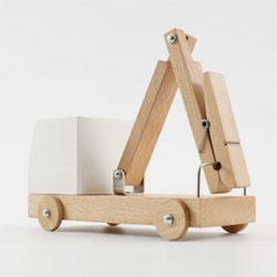 Great series of wooden toys from  that incorporate household items.