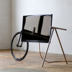 A mobile TV stand, the TV Barrow by Che-Wei Wang and Taylor Levy.