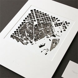 Metropolitan Cityscapes by TrinhBuscher capture reflect aerial views of cities in paper through laser cutting.