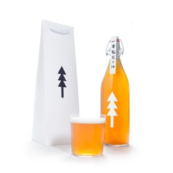 Kota Kobayashi's lovely packaging for Ippon Matsu (One Pine Tree), a beer named after the sole tsunami survivor in Rikuzentakata, a lone pine tree.