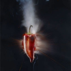 Chillis so hot they explode? Love this photo series by Adam Voorhes for Men's Health using firecrackers inside chilli peppers!