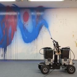 Takahiro Yamaguchi and So Kanno's Senseless Robot #2, a water-powered graffiti-creating robot!