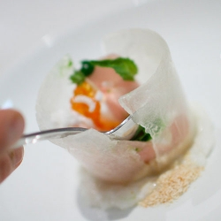 Grace's Curtis Duffy developed a delicate ice bowl for plating refreshing sashimi creations.