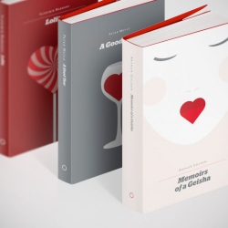To celebrate Valentine's Day a series of 14 book covers (literally) centered around the motif of a heart by re:design.