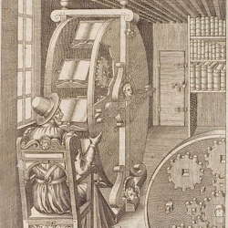 The Book Wheel a 16th century invention of Captain Agostino Ramelli to keep texts at your fingertips.