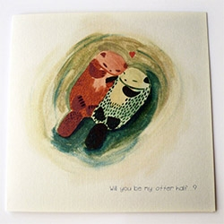 """Will you be my otter half?"" Adorable card from TheLittleMatters, little creations By Lillian Ip."