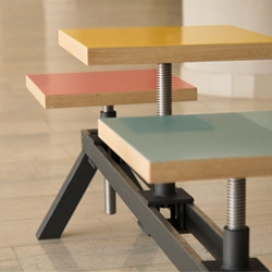Poyke, work stool and three seater bench, hybrid with adjustable seat position and height, by Yonder Magnetik.