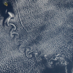 A von Karman vortex street stretching from Isla Socorro off western Mexico