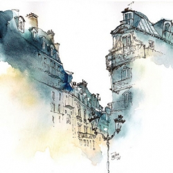Beautiful architectural sketches by Sunga Park.