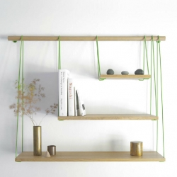 Suspension bridge inspired shelving designed by Outofstock and manufactured by Boila.