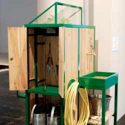 Francien Hazen's Watercabinet is a compact system that is part greenhouse, part shed/potting table, and rainwater harvesting system in one.