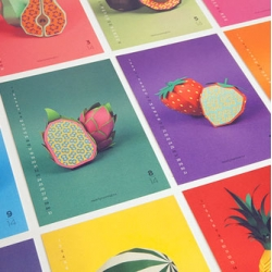 Fun 2014 calendar from Nearly Normal featuring fruits made from paper.