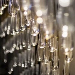 The Pour, a raindrop crystal chandelier from Dara Huang and Lisa Hinderdael of Design Haus Liberty in New York.