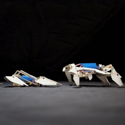 A self-assembling, origami-inspired robot that can take shape and crawl through the use of a heat-shrinking polymer.