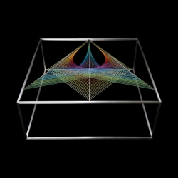 Maurie Novak's Prism Table with a rainbow design created in elastic.