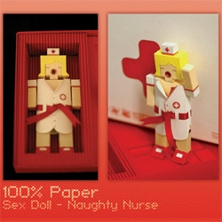 Paper toys taken to a new level ~ 100% Paper Naughty Nurse (her ribbon tied outfit even opens and she has a metal eyelet mouth) - by RegMART