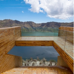 Breathtaking views across Quilotoa, a volcanic lake in the Ecuadorian Andes by architects Javier Mera, Jorge Andrade and Daniel Moreno.
