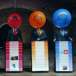 Inflated Egos - A fun interactive installation for the General Election where your tweets can inflate and deflate the heads of UK party leaders.