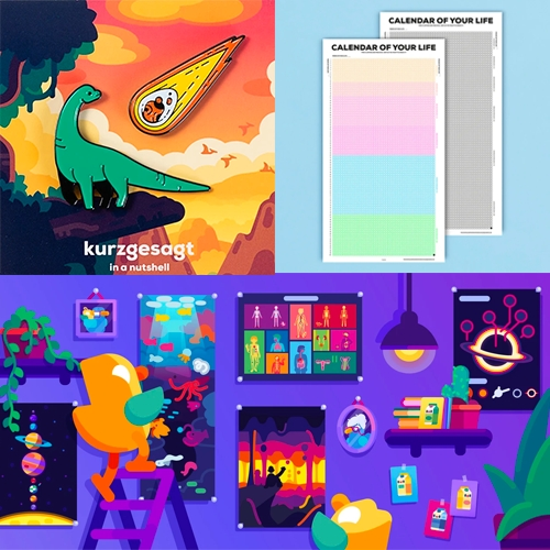 Kurzgesagt Shop is full of so much happy graphic inspiration - from the existential dread posters to space themed plushies and pins, lots of dinos and everything with those ducks on them!