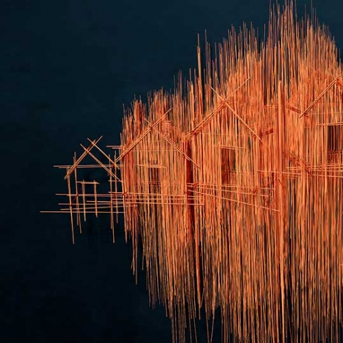 David Moreno's artwork, made from steel rods and pieces of piano wire.